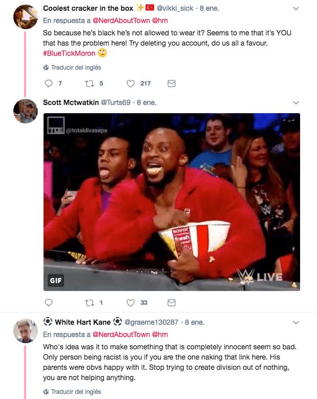 Extracto de tweet crisis de H&M