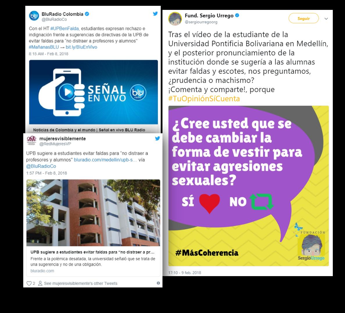Tweets de crítica a la UPB por post machista